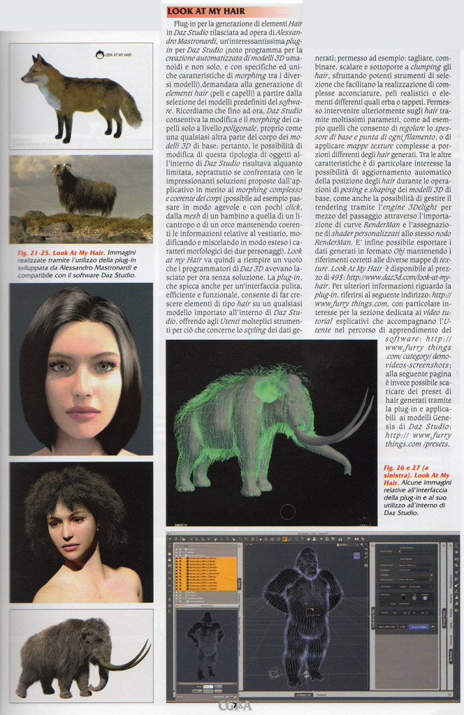 Look At My Hair for DAZ Studio featured in Computer Grafica Magazine